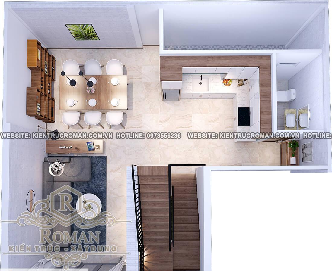 tầng trệt mẫu nhà 2 tầng đơn giản mà đẹp
