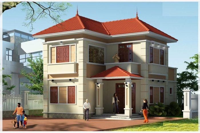 mẫu nhà 2 tầng mái ngói đẹp 21