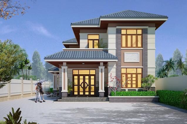 mẫu nhà 2 tầng mái thái đẹp 17