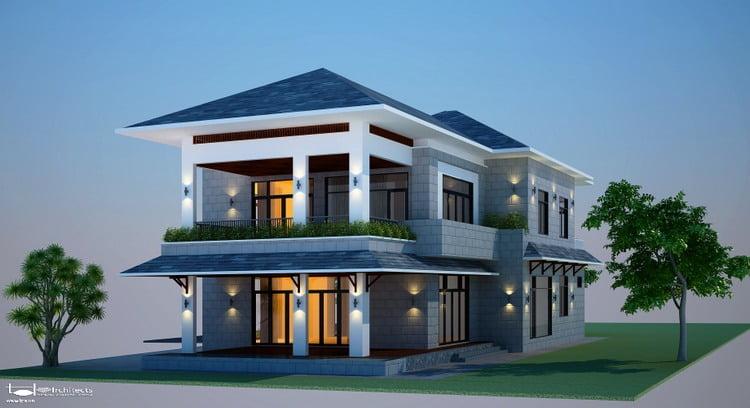 mẫu nhà 2 tầng mái thái đẹp 18