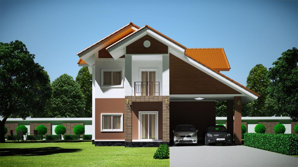 mẫu nhà 2 tầng mái thái đẹp 33