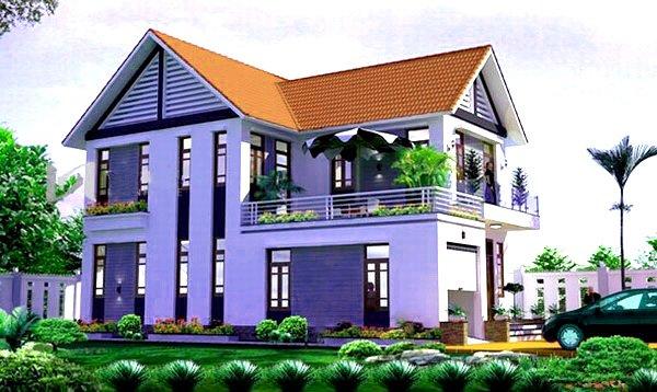 mẫu nhà 2 tầng mái thái nông thôn tiết kiệm chi phí xây dựng 2