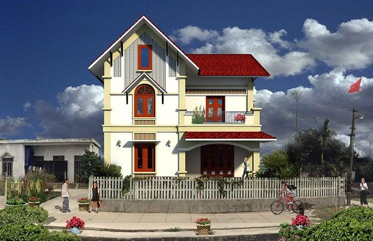 mẫu nhà 2 tầng nông thôn đẹp 15