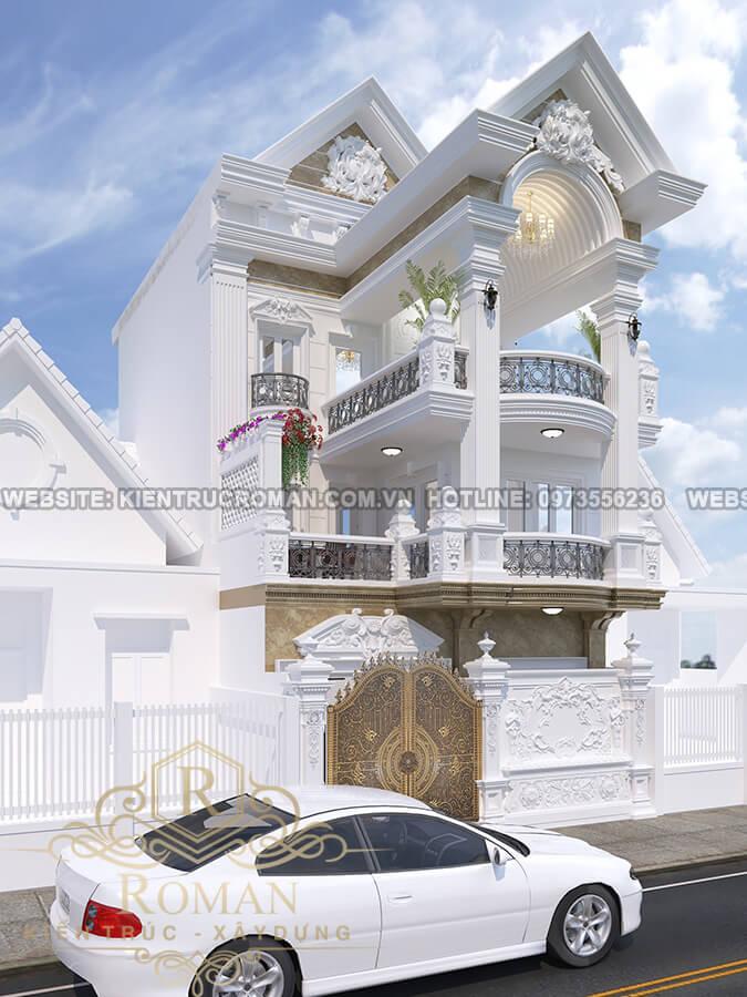 mặt tiền mẫu nhà 3 tầng đẹp phong cách cổ điển