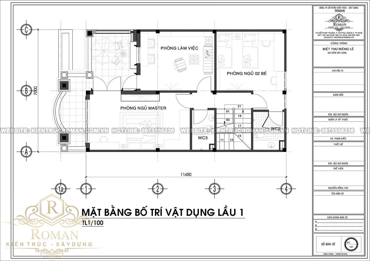mặt bằng lầu 1 mẫu nhà 3 tầng đẹp phong cách cổ điển