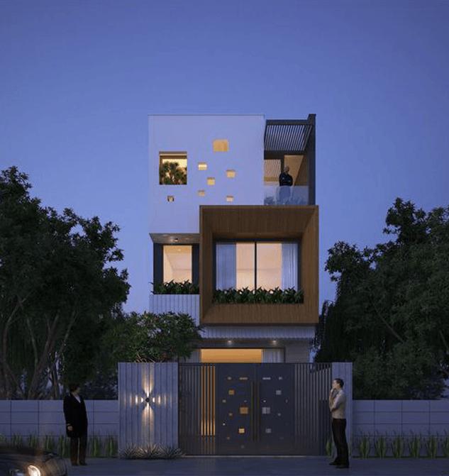mẫu nhà 3 tầng mặt tiền 7m 18
