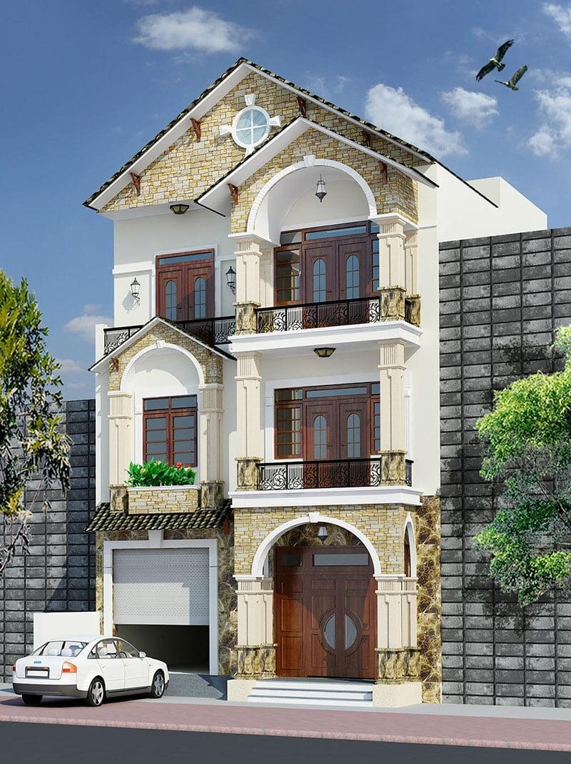 mẫu nhà 3 tầng mặt tiền 7m 3