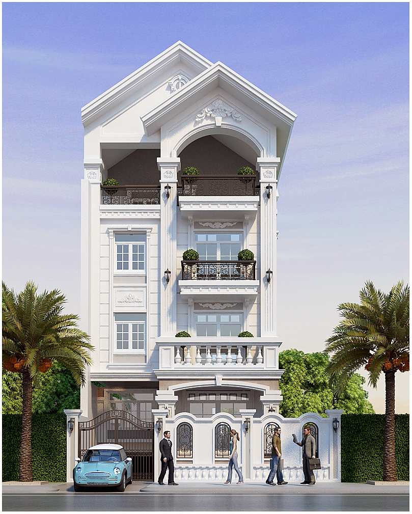 mẫu nhà 3 tầng mặt tiền 7m 4