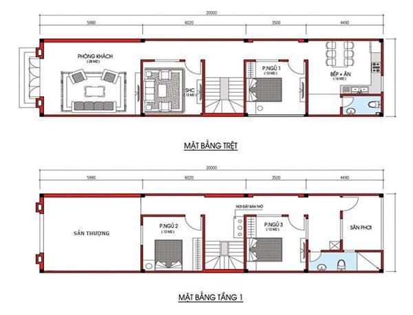mẫu nhà 5x20 2 tầng 12