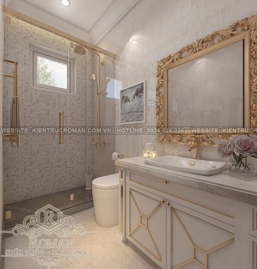 mẫu nhà biệt thự 3 tầng đẹp phòng tắm
