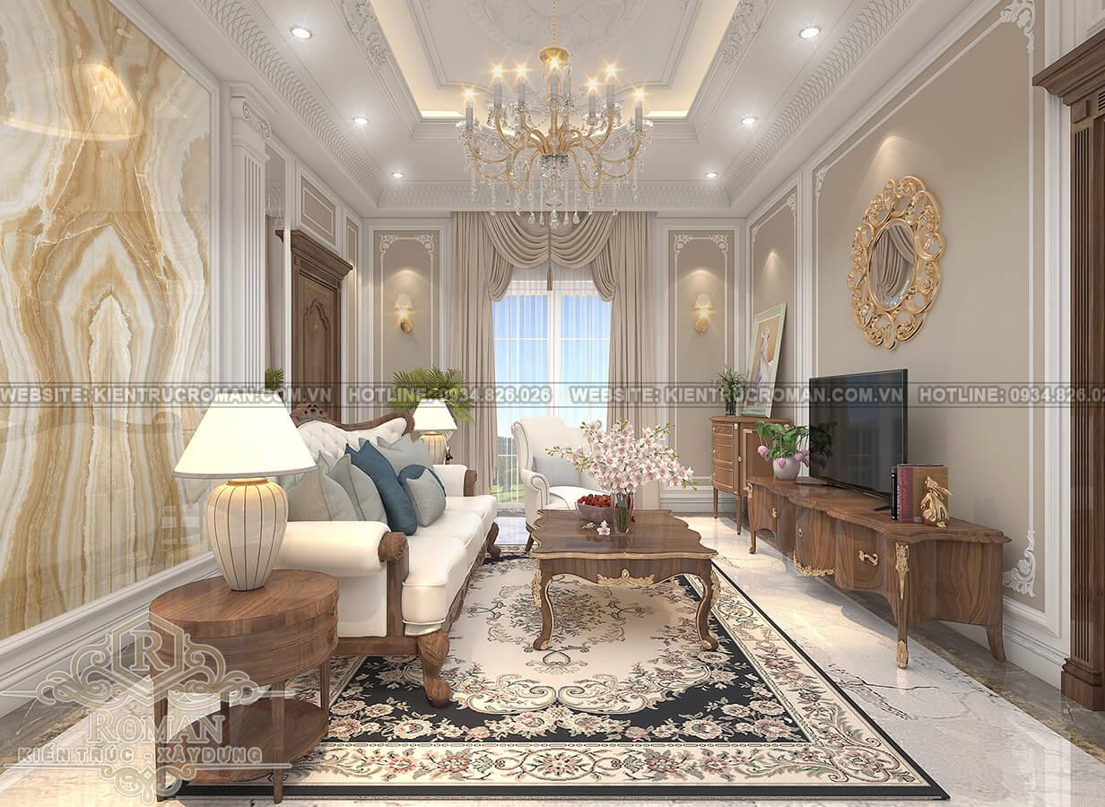 mẫu nhà biệt thự 3 tầng đẹp phòng sinh hoạt chung