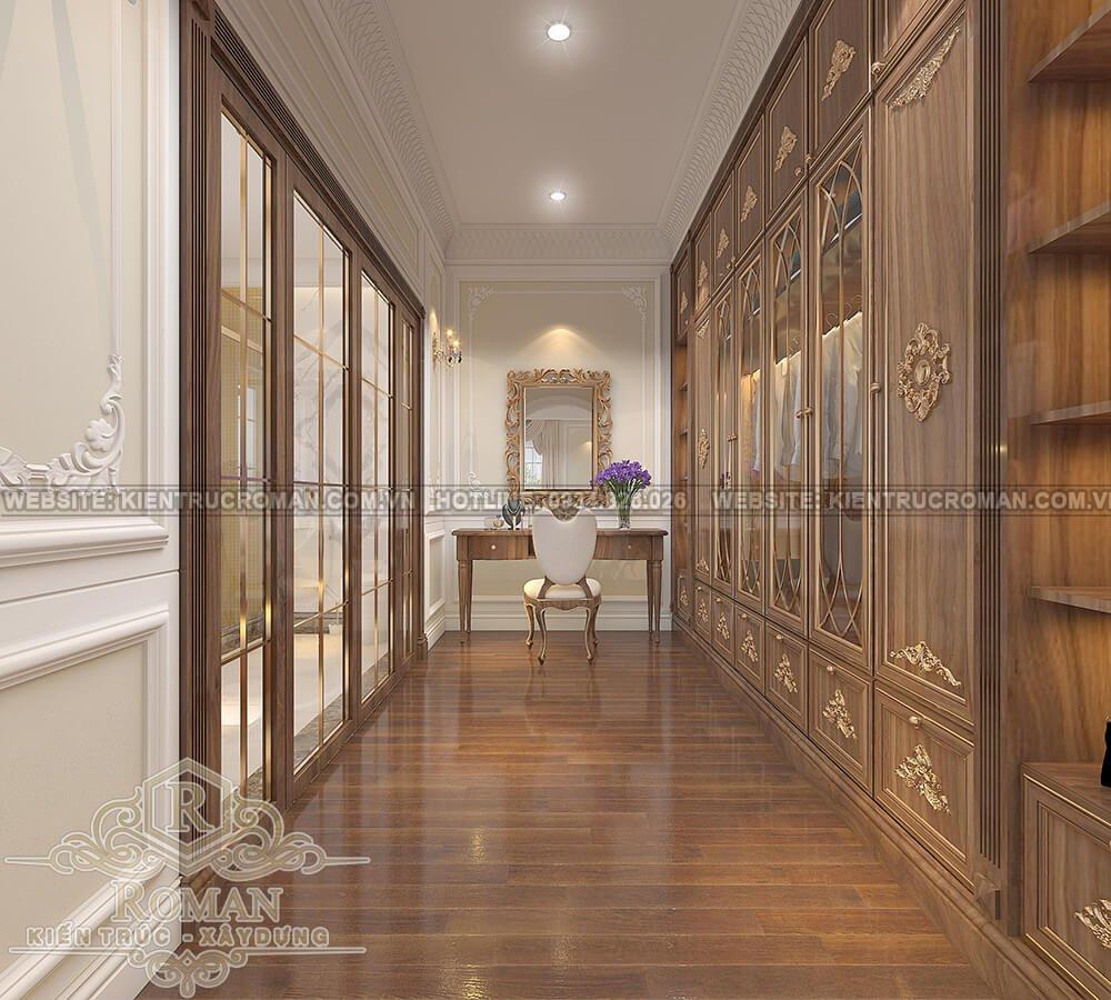 mẫu nhà biệt thự 3 tầng đẹp phòng thay đồ