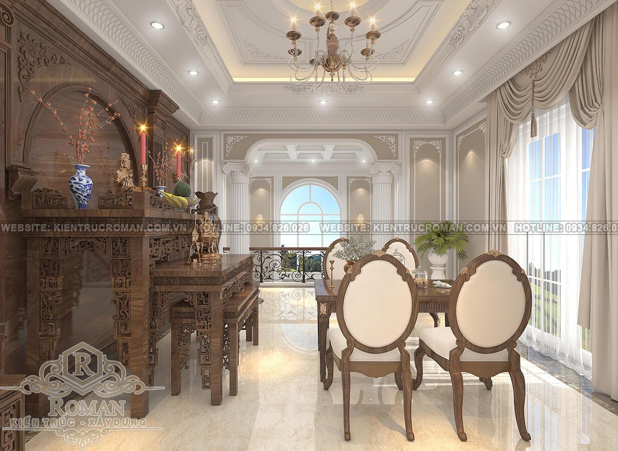 mẫu nhà biệt thự 3 tầng đẹp phòng thờ