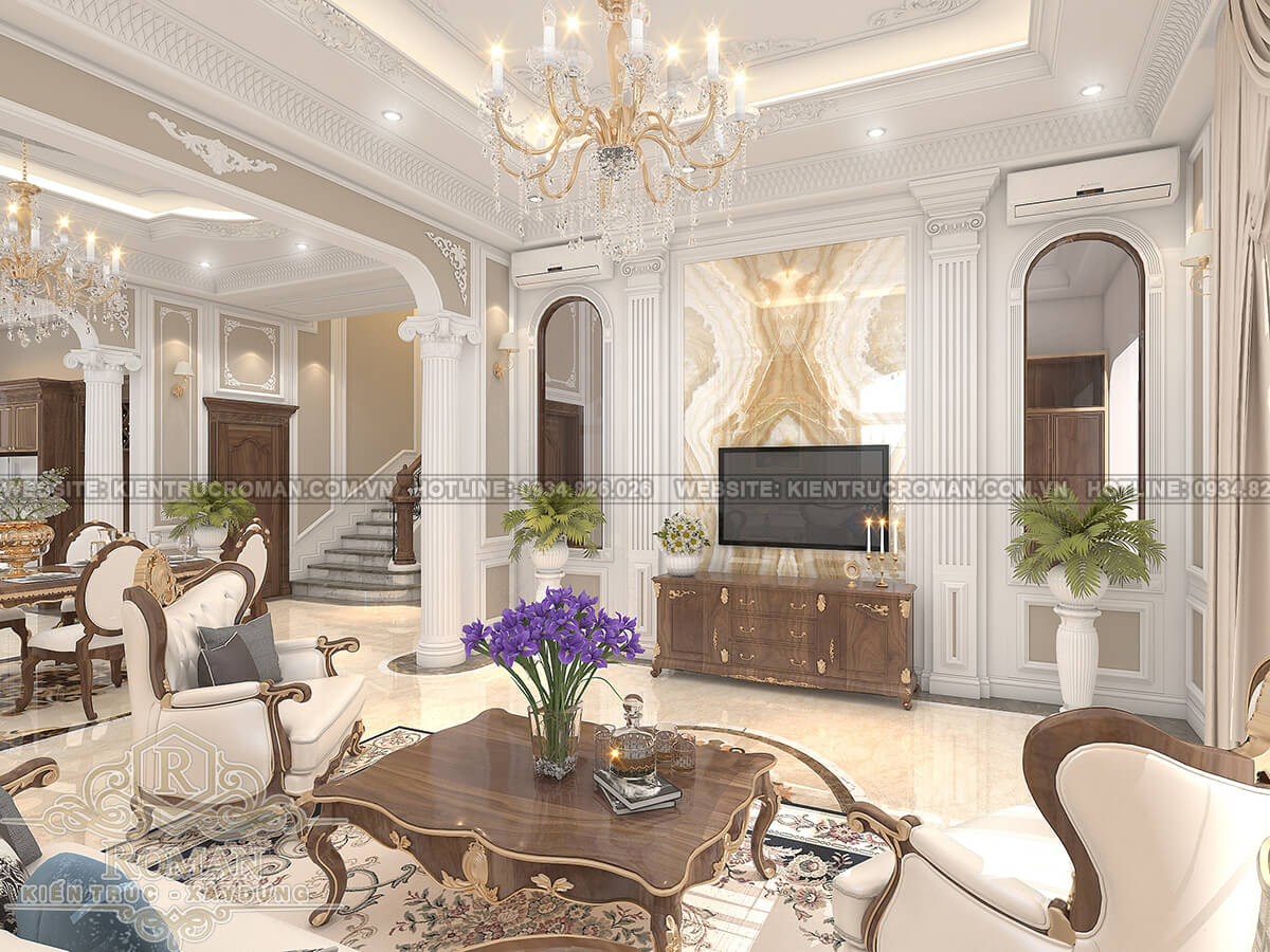 mẫu nhà biệt thự 3 tầng đẹp phòng khách