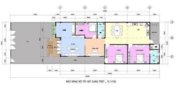 bản vẽ mẫu nhà cấp 4 100m2 3 phòng ngủ