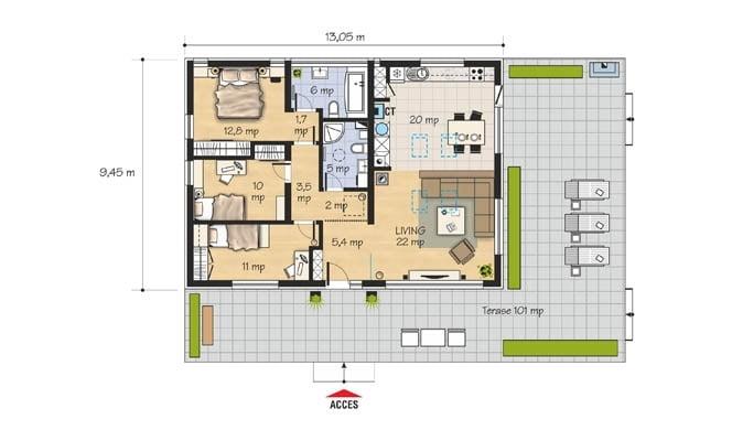 ế hoạch thực tế được phân chia giữa phòng khách, phòng khách và phòng ăn, với lối đi thẳng ra bên ngoài, nhà bếp, phòng tắm và 3 phòng ngủ 11