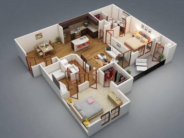 mẫu nhà cấp 4 có 2 phòng ngủ
