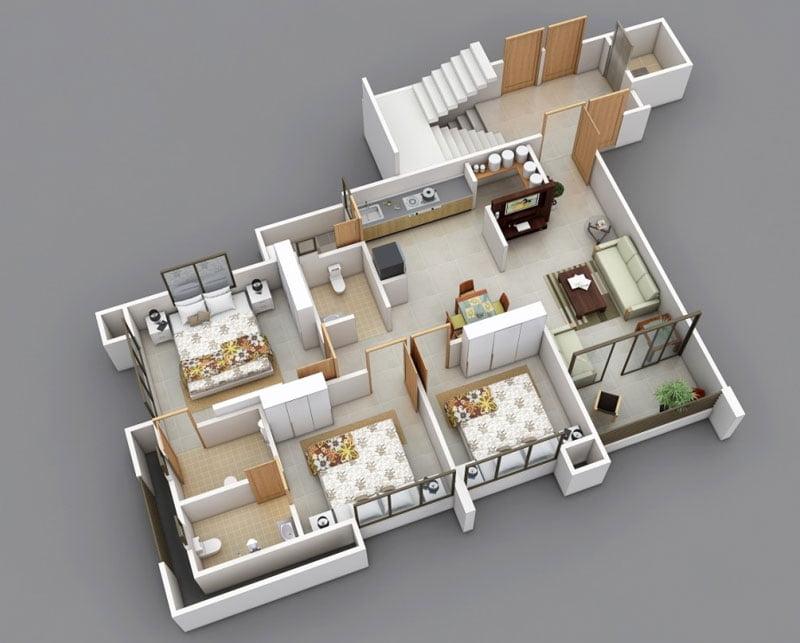 mẫu nhà cấp 4 mái thái 3 phòng ngủ