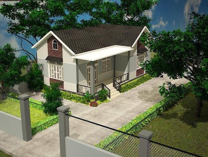 mẫu nhà cấp 4 nông thôn đẹp tiết kiệm chi phí xây dựng 2