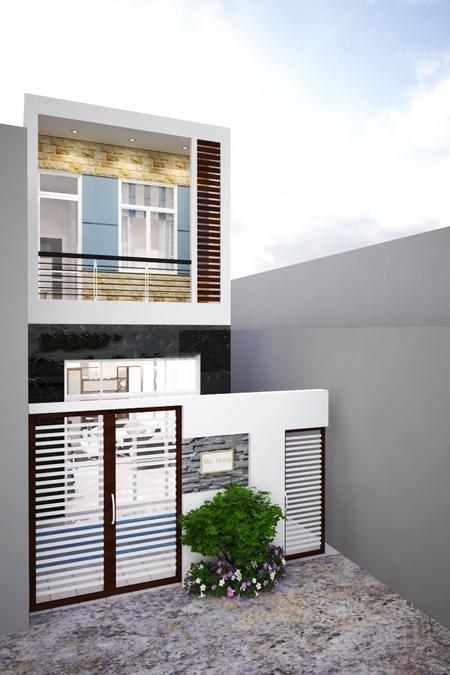 mẫu nhà đẹp 2 tầng 5x15 20
