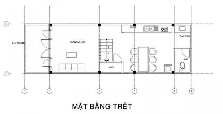 bản vẽ tầng trệt mẫu nhà đẹp 3 tầng