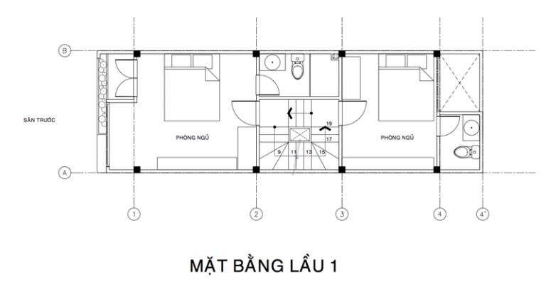 bản vẽ lầu 1 mẫu nhà đẹp 3 tầng