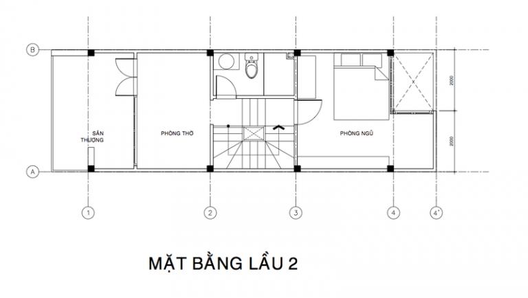 mặt bằng lầu 2 mẫu nhà 3 tầng đẹp