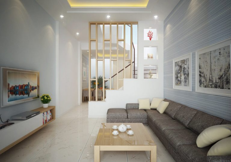 phòng khách mẫu nhà đẹp 3 tầng