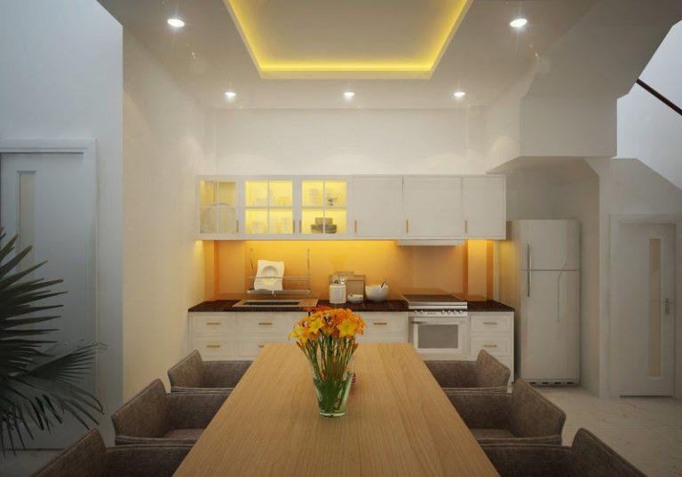 bếp + phòng ăn mẫu nhà đẹp 3 tầng