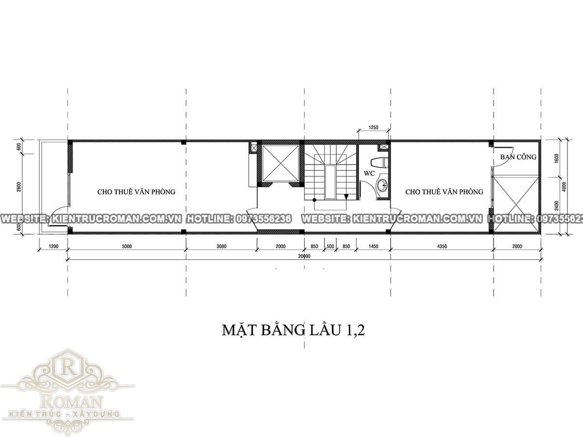 mặt bằng lầu 2 mẫu nhà đẹp 4 x 18 sạng trọng tại quận 8