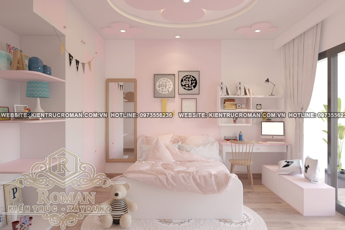 phòng ngủ bé gái mẫu nhà đẹp 4x18 sang trọng tại quận 8