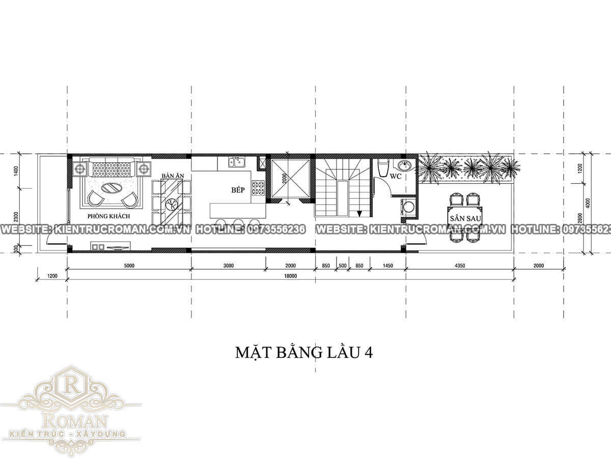 mặt bằng lầu 4 mẫu nhà đẹp 4 x18 sang trọng tại quận 8