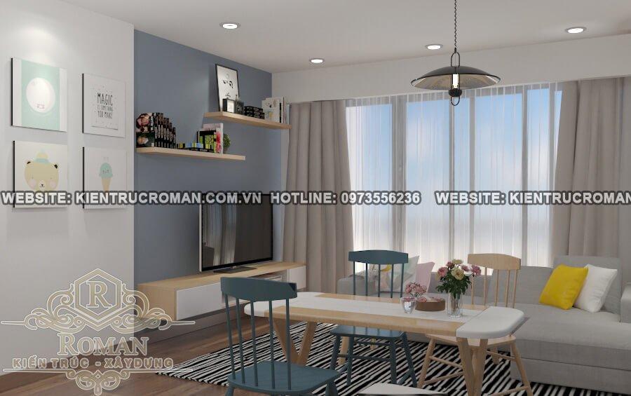 phòng khách, phòng ăn mẫu nhà đẹp 4 x18 sang trọng tại quận 8