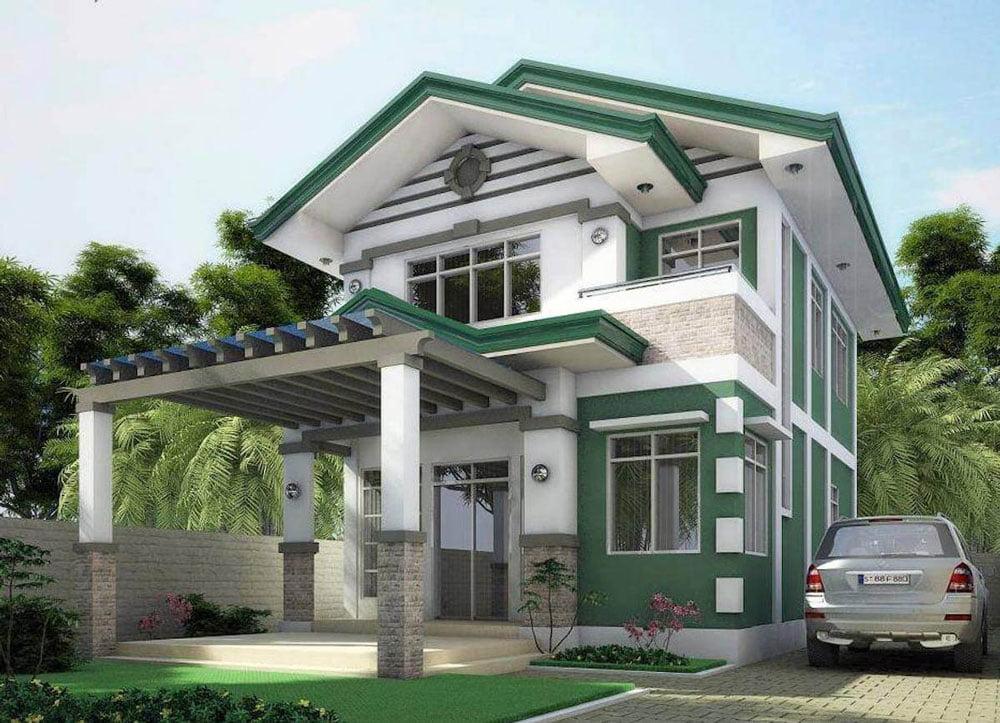 mẫu nhà hai tầng mái thái