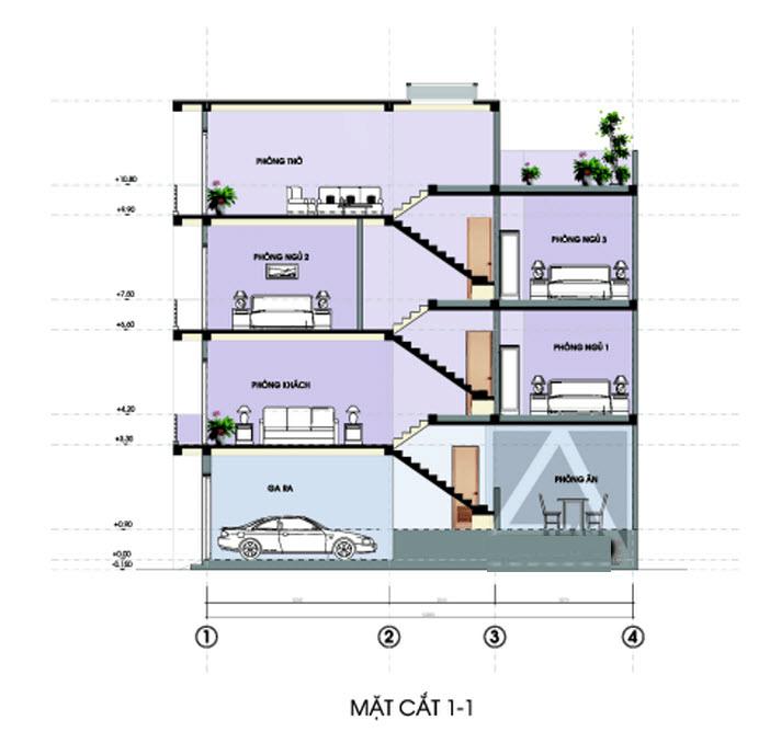 mẫu nhà lệch tầng 4x12m 4