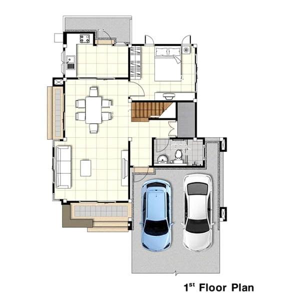 bản vẽ mặt bằng nhà 2 tầng diện tích 6x10