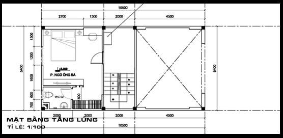 bản vẽ mẫu nhà ống 1 tầng có gác lửng đẹp