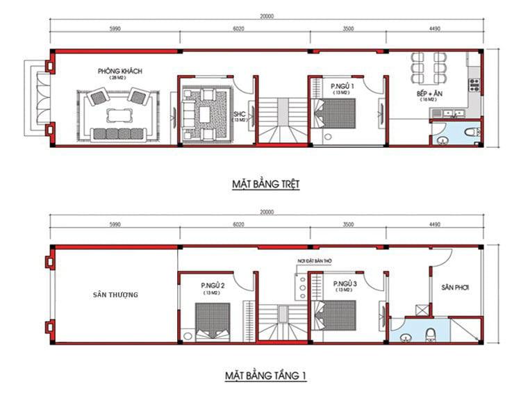 bản vẽ mẫu nhà ống 2 tầng đẹp 1