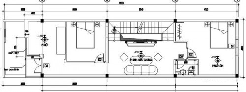 bản vẽ mẫu nhà ống 2 tầng đơn giản thiết kế hiện đại