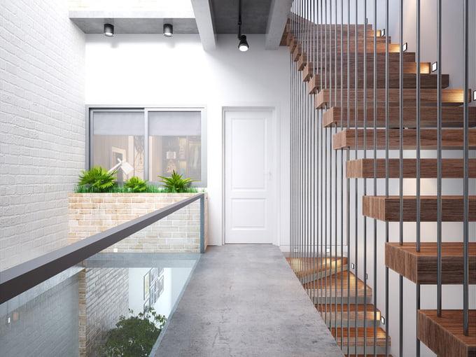 cầu thang mẫu nhà ống 2 tầng đơn giản