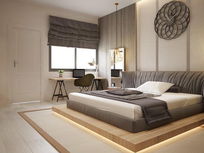 phòng ngủ mẫu nhà ống 2 tầng đơn giản