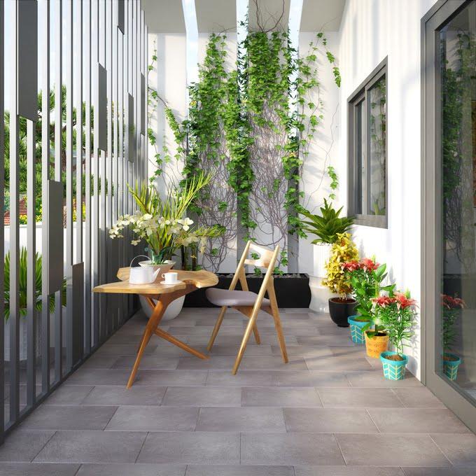 sân thượng mẫu nhà ống 2 tầng đơn giản