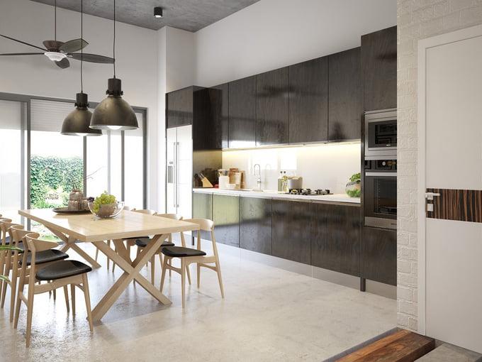 phòng bếp mẫu nhà ống 2 tầng đơn giản