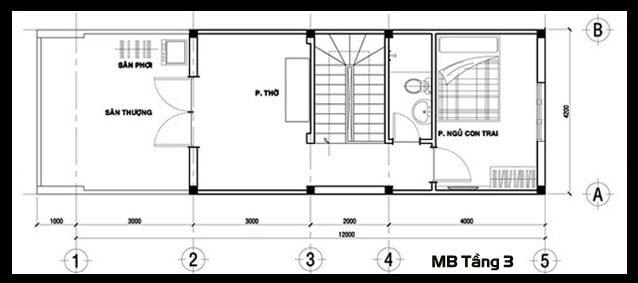 mẫu nhà ống đẹp 3 tầng 4m hiện đại 9