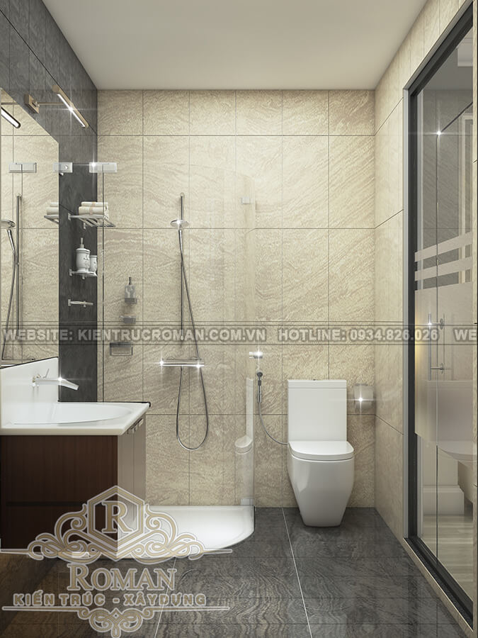 mẫu nhà ống tân cổ điển 3 tầng phòng tắm
