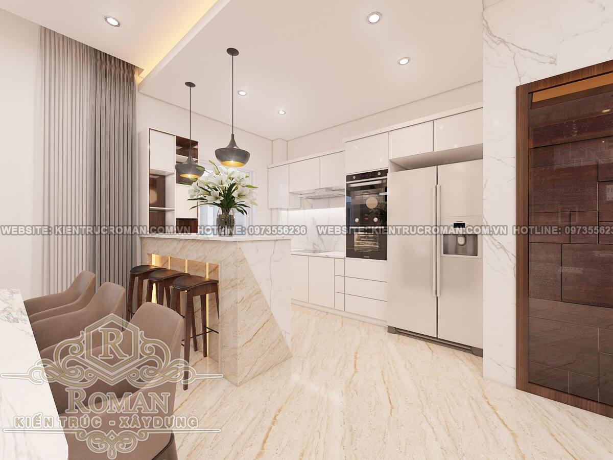 nhà bếp và phòng ăn mẫu nhà ống tân cổ điển