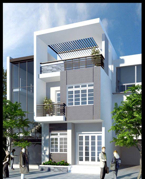 mẫu nhà phố 2 tầng 1 tum hiện đại 2