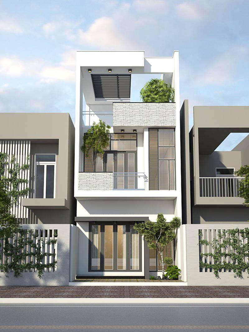 mẫu nhà phố 2 tầng 1 tum hiện đại 3