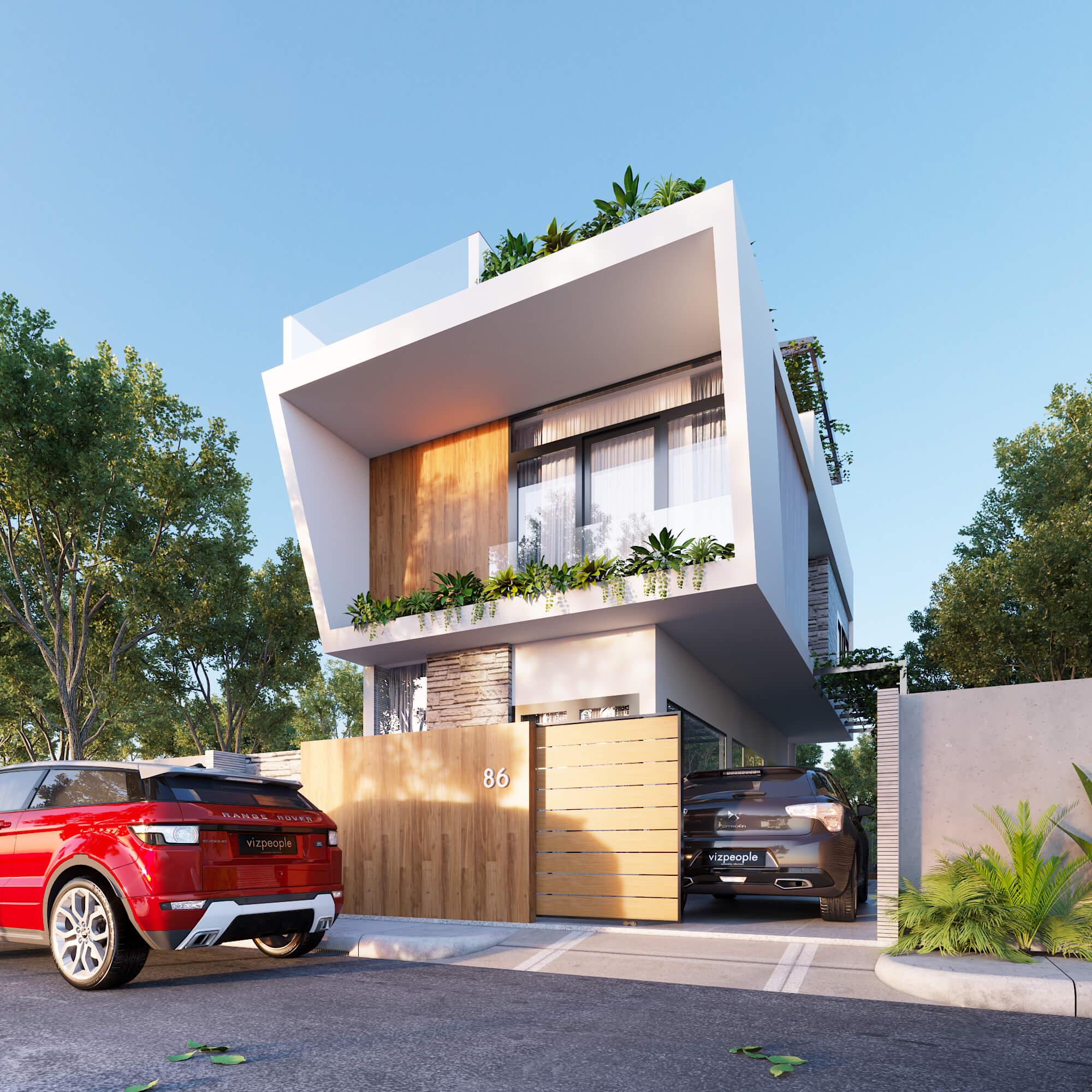 mẫu nhà phố 2 tầng 6x17m