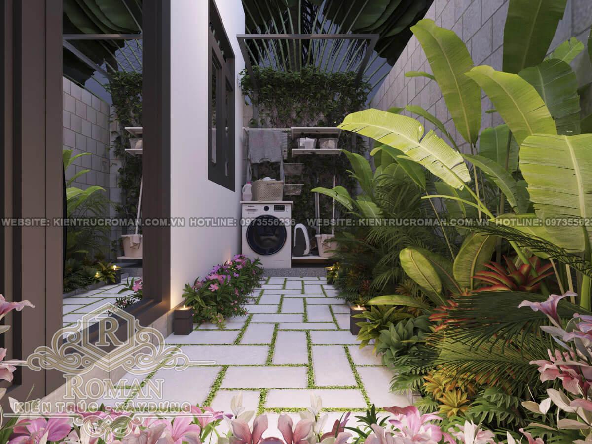 sân vườn mẫu nhà phố 3 tầng đẹp